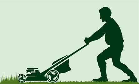 Man Mowing Lawn Silhouette Mowing the lawn,