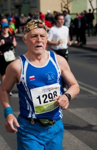elderly man running
