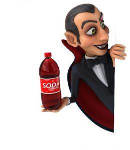 vampire holding soda